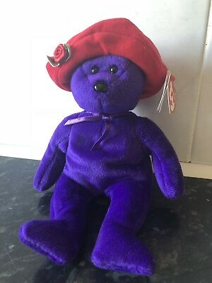 Ty Beanie Bear - Ruby - Retired, New With Original Swing Tags