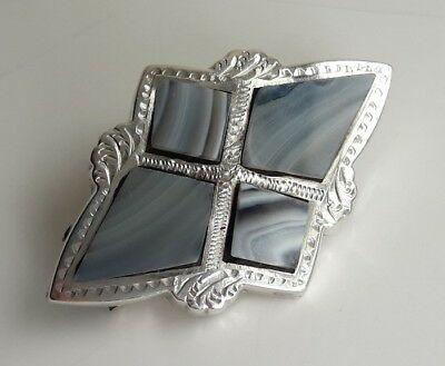 Beautiful Antique Victorian Solid Sterling Silver Scottish Striped Agate Brooch
