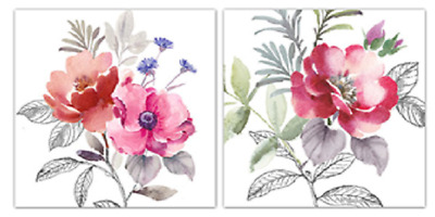 Set of 2 painterly Poppies Canvas wall art framed prints buy 1 get 1 free