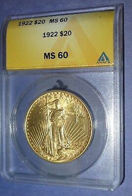 1922 $20 Gold Eagle Coin - Ms60 - Free Shipping !