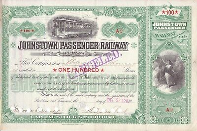 1901 Johnstown (Pa) Passenger Railway stock certificate No. 2