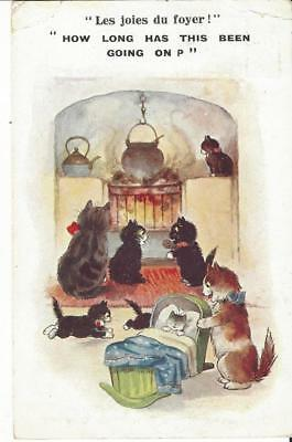 Inter Art Co  - Black Cats By The Fire, Cauldron, Rocking Crib 1929 Postcard