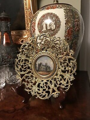 REVERSE GLASS PAINTED CANTERBURY CATHEDRAL / ANTIQUE BRASS ORNATE FRAME vintage