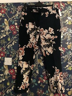 TK Maxx Bnwt Black Floral Ankle Length Trousers Size 14