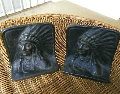 Antique Native American Indian Chief BOOKENDS Signed V, Heavy Brass