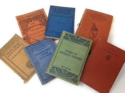 Collection of 7 1900s - 1920s School Textbooks Mainly English