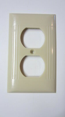 Vintage Ivory Bakelite Ribbed Sierra Electric Outlet Cover, 4 1/2 in. x 2 3/4 in