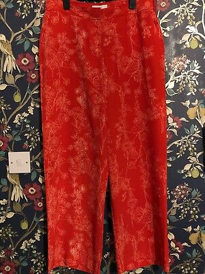 Red Wide Leg Next Trousers Size 14R