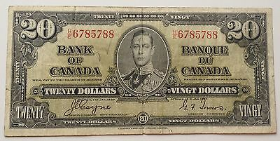 $20 Dollar Bill Bank of Canada Banknote H/E6785788 signed Coyne & Towers 1937