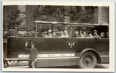 """COLOGNE Germany RPPC Real Photo Postcard """"Auto Tour About Koln"""" c1920s UNUSED"""