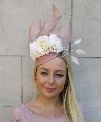 Cream Nude Blush Pink Rose Flower Feather Hat Fascinator Races Wedding Hair 5902