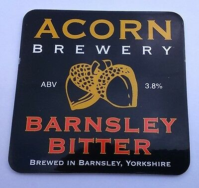 ACORN brewery BARNSLEY BITTER ale beer badge front pump clip Yorkshire