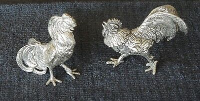 Vintage Pair Of Silver Plated Fighting Cocks Cockerel Figurines #5
