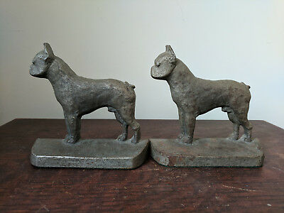 Bulldog Boxer Bookends - Pair Vintage Heavy Metal Silver Color - Numbered #58
