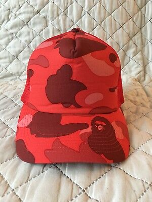 A BATHING APE NERD Red Camo Trucker Hat Cap Bape Nigo Pharrell ... 5655c805916
