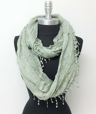 New Women's Solid basket-weave Infinity Loop Scarf 2-Circle Wrap Soft Olive