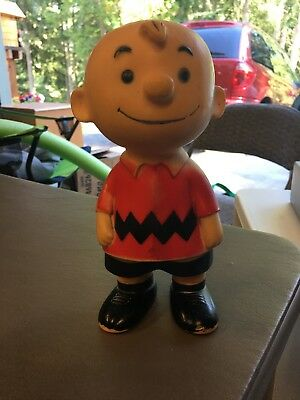 Vintage Vinyl Charlie Brown 1958 Doll Figure United Feature Syndicate 9 1/2""