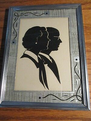 Vintage Metal Framed Silhouette Picture Man & Woman Head Busts 1949