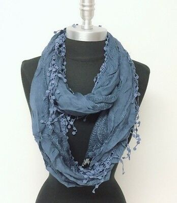 New Women's Solid basket-weave Infinity Loop Scarf 2-Circle Wrap Soft Denim blue