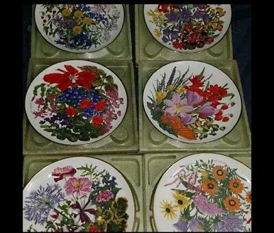 Franklin Porcelain Wedgwood Flowers Of The Year complete Set of 6 Plates
