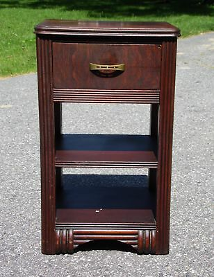 Antique Art Deco Nightstand End Table Walnut Bedroom Stand
