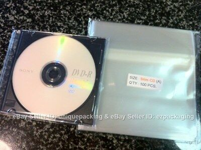 100 Pcs 5 7/8 x 5 1/8 Clear Slim CD Case Cello Cellophane / Poly Bags Sleeves
