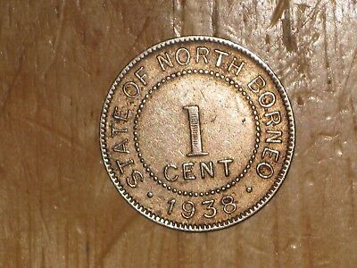 British North Borneo 1938 H Cent coin Very Fine nice