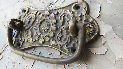 Antique CAST BRONZE not iron ORNATE Pull Handle FLORAL Window box Trunk Crate
