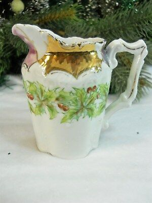 Antique 1890s GERMANY Porcelain Xmas HOLLY China Victorian Creamer Pitcher Jug