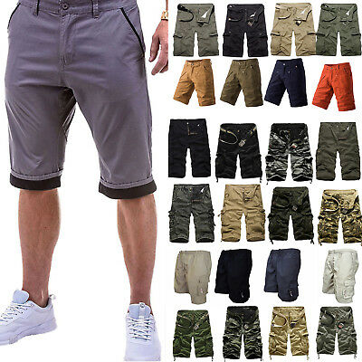 Mens Casual Cargo Pants Shorts Trousers Military Camo Army Combat Workshorts