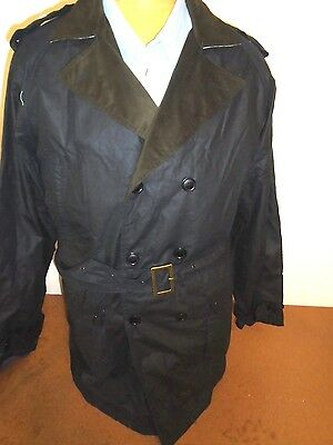 Barbour Fly Weight Waxed Cotton Double Breasted Owner Jacket NWT XL $499 Navy