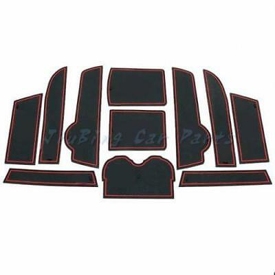 11pcs Red Non-slip Slot Pad Rubber Cup Holder Mat For Cadillac SRX 2010-2015 y