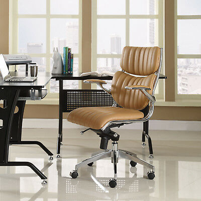 Ergonomic Swivel Faux Leather High Back Computer Desk Office Chair in Tan