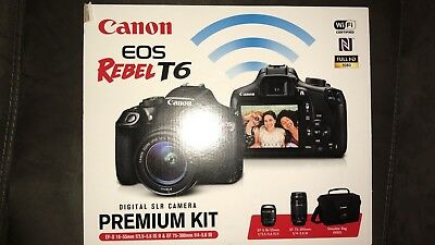 CANON EOS REBEL T6 PREMIUM KIT BUNDLE 18-55MM and EF-75-300MM (2 LENS) NEW