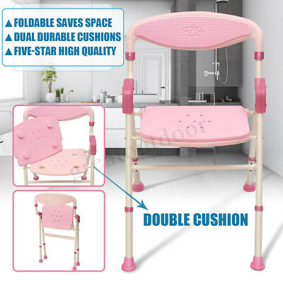 Pink Tones Portable Folding Shower Chair Aluminium Adjust Bath Seat Aid Stool AU