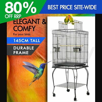 iPet 145cm Bird Cage Parrot Aviary Stand-alone Budgie Perch Castor Wheels L