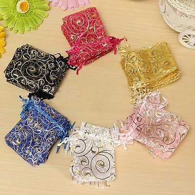 25/50/100 Wedding Party Candy Organza Drawstring Favour Gift Bags Pouches New