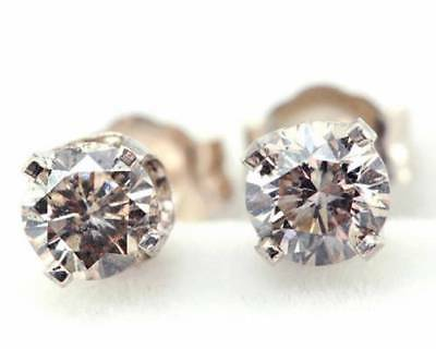 0.37CT Genuine Champagne Diamond 14K 14KT Solid White Gold Earrings Studs