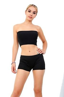 Girls Dance Wear Crazy Chick Black Boob Tube Vest Crop Top Fancy Dress Accessory