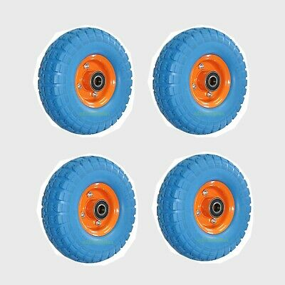 "1x 2x 4x Puncture proof solid rubber wheels 20mm Bore 10"" Trolley Garden cart"