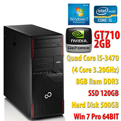 PC COMPUTER GIOCO GAMING QUAD CORE i5-3470 RAM 8GB SSD 120GB HDD 500GB GT710 2GB