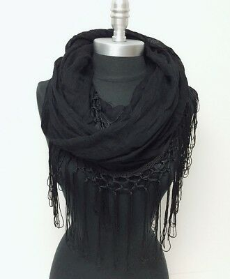 Solid crinkle w/ long knotted viscose fringe Infinity Scarf 2-Circle Wrap Black