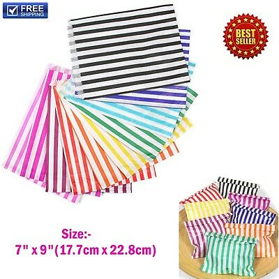 "CANDY STRIPE PAPER BAGS SWEET GIFT SHOP PARTY SWEETS CAKE WEDDING SIZE:- 7"" x 9"""