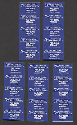 Lot 5 USPS 2002 Par Avion Air Mail Etiquette Labels Booklet Panes Obsolete #19-B