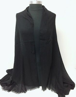 Men Women Large Long Scarf Solid with frayed edge Soft Shawl Wrap Pashmina Black
