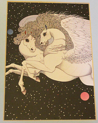 Vintage 1979 Pair of Pegasus Flying in Galaxy by Mary McGurrin Matted Print 8x10