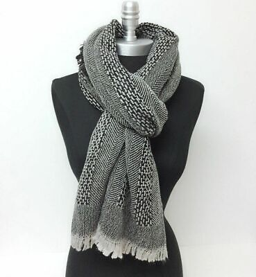 Men Winter Textured oblong mid-weight Scarf w/ fringe Soft Warm Wrap Shawl Gray