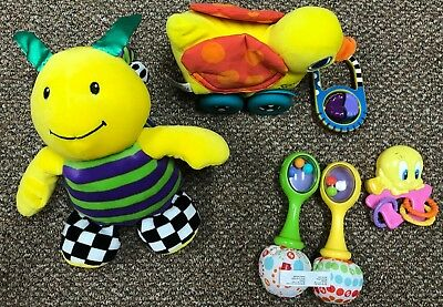 Baby Toy 6 Piece Lot Teethers Rattles Used Lamaze Fisher Price Sassy