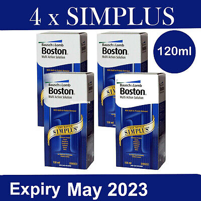4 x 120ml Boston Simplus Multi Action Contact Lens Solution Bausch & Lomb