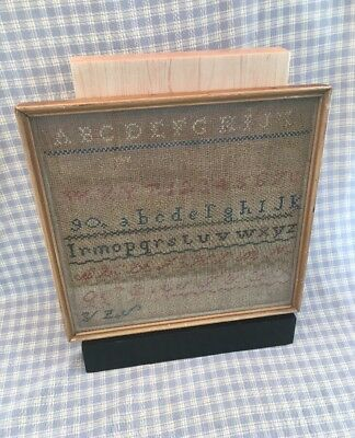 "Antique 1800's Sampler Framed , Beautiful Very Rare 12""x11-3/4"" Old"